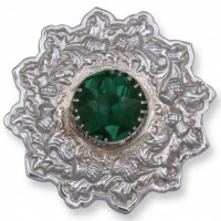 Plaid Brooche with Green Stone Chrome Finish