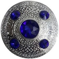 Celtic Brooch Blue Silver 4 inches /Scottish Kilt Fly Plaid Brooches