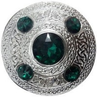 Celtic Brooch Green Silver 4 inches /Scottish Kilt Fly Plaid Brooches