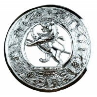 Plaid Brooches, Thistle with lion Rampant Chrome finish