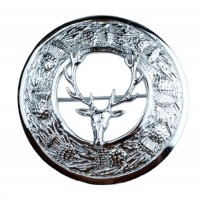 Plaid Brooches, Thistle with Stag Head Chrome Finish
