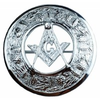 Masonic Crest Plaid Brooch in Chrome Finish fine quality
