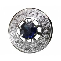 Plaid Brooche with Blue Stone Chrome Finish