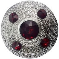 Celtic Brooch RED Silver 4 inches /Scottish Kilt Fly Plaid Brooches