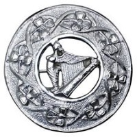Scottish Harp Badge Kilt Fly Plaid Brooch In Chrome Finish.
