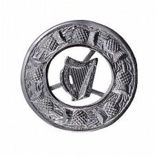 Brooch with Irish Harp Crest HASING THISTLE DESIGN