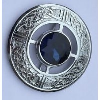 Plaid Brooch Celtic Knot work Design with Blue Stone