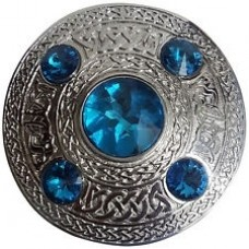 Celtic Brooch Sky BLUE Silver 4 inches /Scottish Kilt Fly Plaid Brooches
