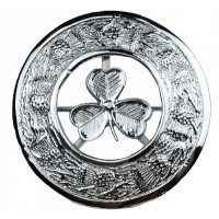New Irish Shamrock Crest Plaid Brooch In Chrome Finish