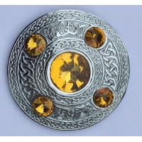 Celtic Brooch Yellow Stone Silver 4 inches /Scottish Kilt Fly Plaid Brooches