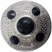 Celtic Brooch BLACK Silver 4 inches /Scottish Kilt Fly Plaid Brooches