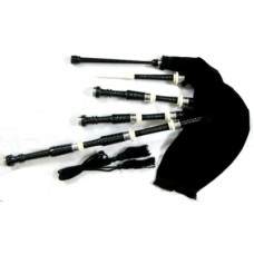 African Black Wood Bagpipe Ivory Color Ferrules Nickel Silver Plain Cap Rings and Slide
