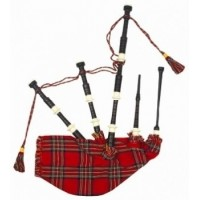 Black Ebony Wood bagpipe, ROYAL STEWART BAG cover with cord, with IVORY