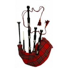 Black Finish bagpipe, Royal Stewart cover with cord, with turned plain nickel