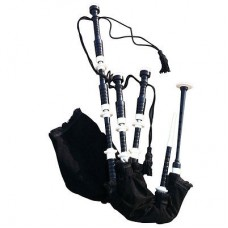 Black ROSEWOOD bagpipe, VELVET BAG cover with BLAC SILK DRONE cord with White Plastic Fitting
