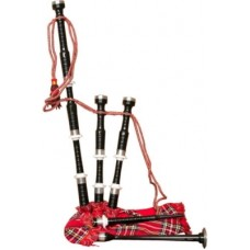 Black Rosewood Bagpipe Ivory Color Ferrules Nickle Silver Plain Fitting. Plain Turned Bagpipe
