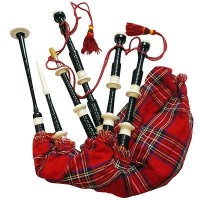 Scottish Bagpipe Black Color Imitation Ivory Mounts Royal Stewart Bag Full Size
