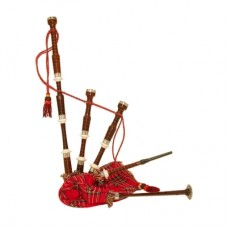 Rose Wood bagpipe, Royal Stewart Bag cover with cord, with turned Plain nickel Sole and Knobs with s