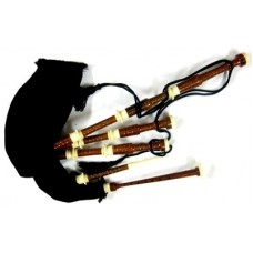 Rosewood Bagpipe Rosewood Gloss Finish Ivory Color Sole, Scroll and Knob with Black Velvet Bag Cover