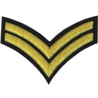 2 Stripe Chevrons Badge Gold Bullion on Black
