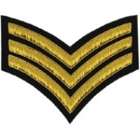 3 Stripe Chevrons Badge Gold Bullion on Black