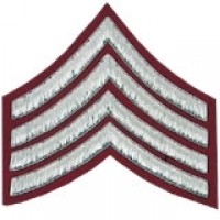 4 Stripe Chevrons Badge Silver Bullion on Red