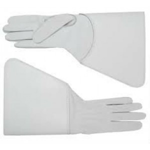 Drum Major Gauntlets, White Buff leather.