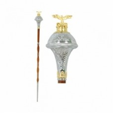 Drum Major Mace engraved trumpet shap head and gold color