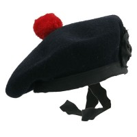 Plain Black Balmoral Hat Red Pom