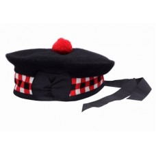 Balmorals Hat Red White Black Diced