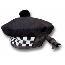 Balmorals Hat with Black White Dicing black Pom