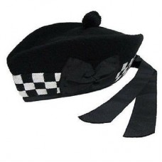Black White Diced Glengarry Cap Black Pom Pom