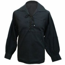 Mens Ghillie Shirt Four pairs of metal eyelets. Leather thong thread through Spread collar. Loose sl