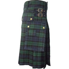Hybrid Kilt - Black Watch Tartan Antique Buckle Any Size