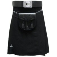 Solid Black Fabric Kilt
