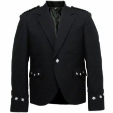 Black Highland Scottish Argyll Jacket For Kilt