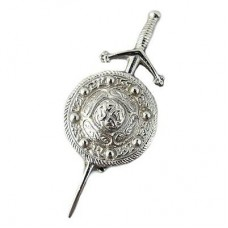 Chromed Sword Kilt Pin with Celtic Shield Design