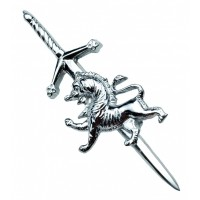 Rampant Lion Kilt Pin, chrome finish