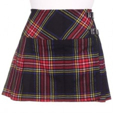 Black Stewart Tartan Ladies Mini Billie Pleated Kilt Skirt