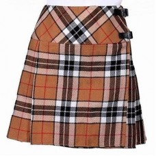 Ladies Camel of Thomson Tartan Scottish Micro Mini Billie Pleated Kilt