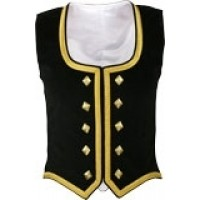 Black Cotton Velvet Vest