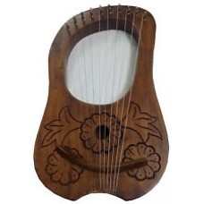 Engraved Lyre Harp Rosewood 10 Metal Strings/Lyra Harp + Free Carrying Case,Key