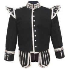 Black Highland Doublet Silver Piping Silver Thistle Buttons