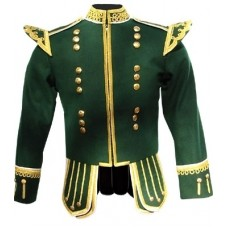 Dark Green Highland Doublet Gold Piping