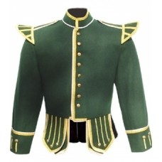 Dark Green Highland Doublet Silver Piping