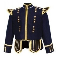 Navy Blue Highland Doublet Gold Piping Gold Thistle Buttons