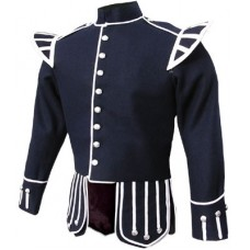 Navy Blue Pipe Band Doublet Silver Piping