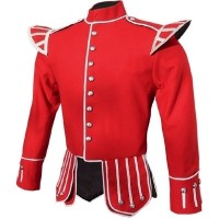 Red Highland Doublet Silver Piping and Thistle Buttons