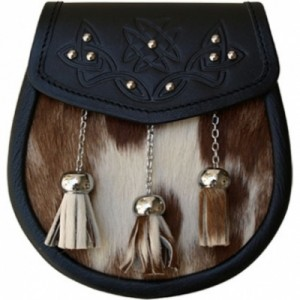 Cow Hide Sporran Thistle Embossed Chain Straps included.