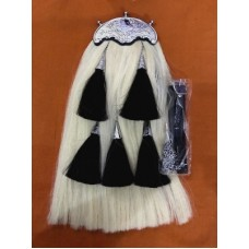 Original Long Horse Hair Sporran White Body With 5 Tassels Include Chain Belt.